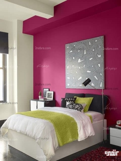 رنگ سرخابی، انتخابی زیبا برای دیوار پشت تخت خواب