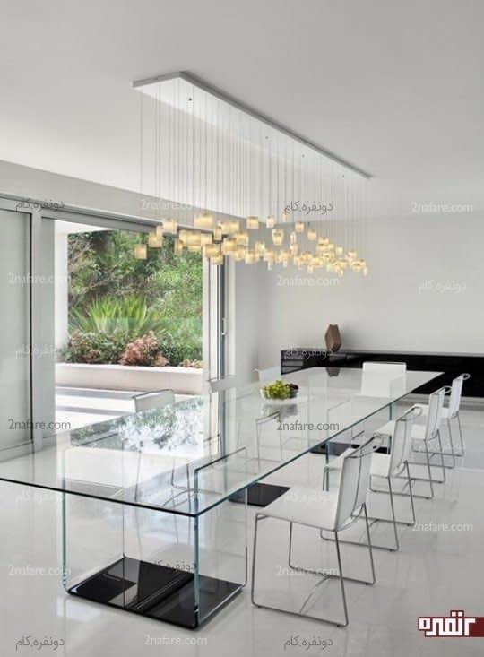 ست زیبای میز نهارخوری تمام شیشه ای با صندلی های خنثی