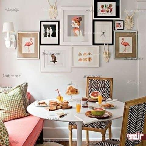 صندلی های سیاه و سفید با طرح هندسی شیک و مدرن برای میز صبحانه خوری