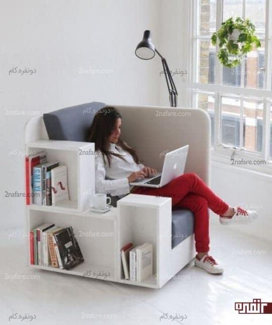 مبل راحتی و کتابخانه ای متحرک