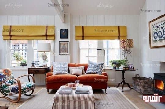 مبل طرح دار و قالیچه مناسب برای پوشش نمای کف