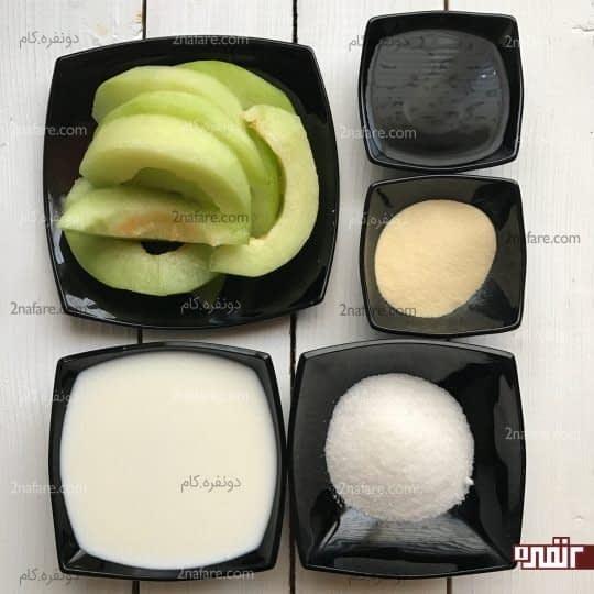 مواد لازم برای تهیه ژله طالبی شیری