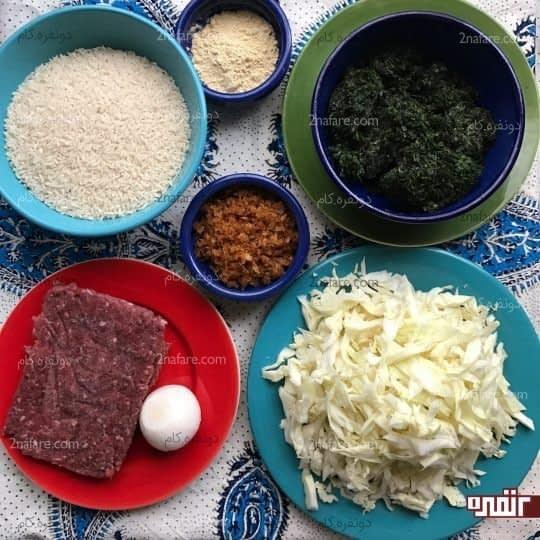 مواد لازم برای تهیه کلم پلو