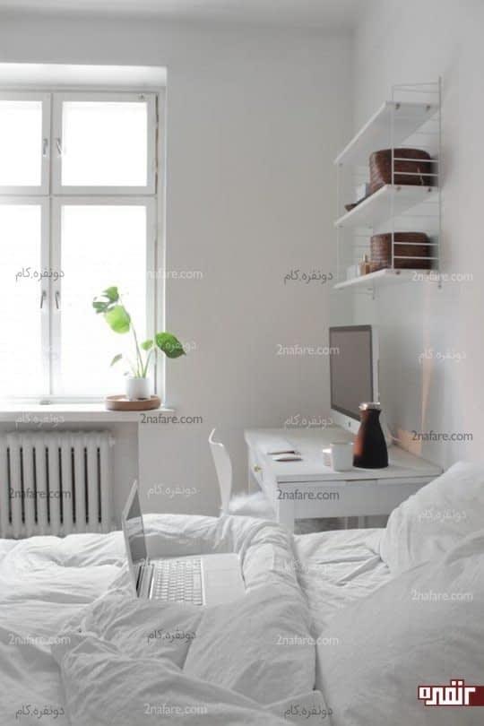 هماهنگی بین میزکار و تخت خواب سفید