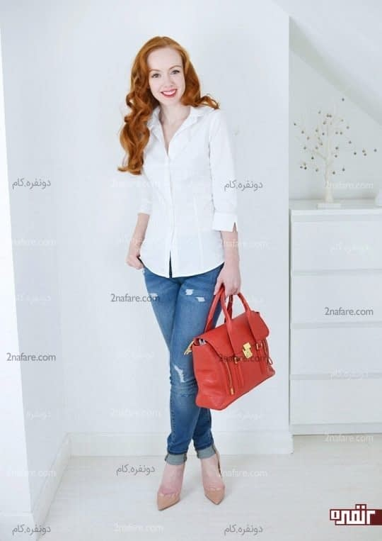 پیراهن سفید و شلوار جین آبی
