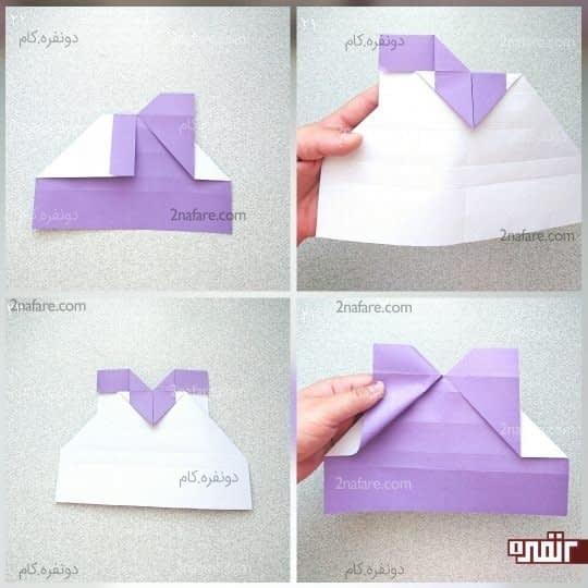 کار را برگردانید و مانند شکل تا کنید طوری که ضلع مثلث با ضلع مستطیل رنگی مماس باشد