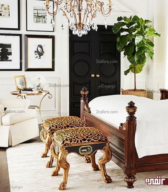 اتاق خوابی لوکس با چهارپایه های طرح یوزپلنگ