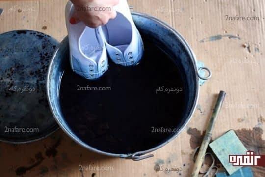 بیشتر از چند ثانیه کفش ها رو در رنگ قرار ندین