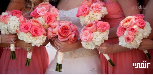 ترکیب زیبا از گل هورتانسیا برای عروس و ساقدوش ها