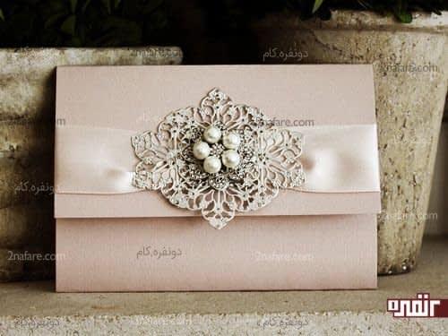 تزیینات زیبا برای کارت عروسی با رنگ صورتی