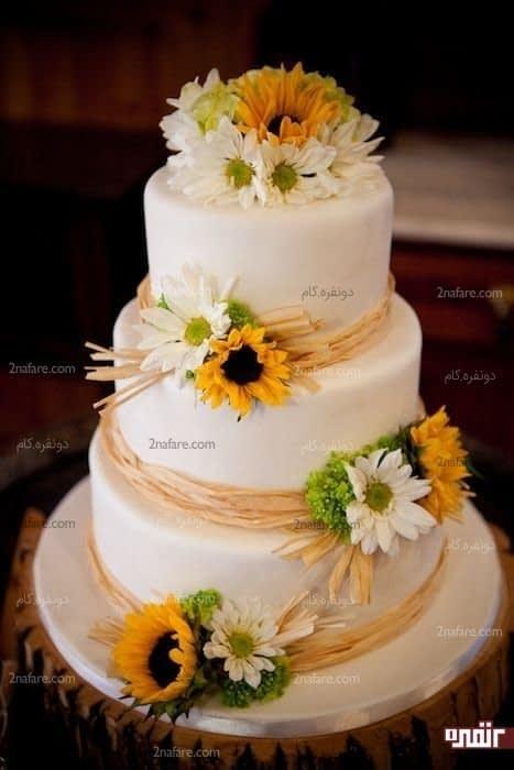 تزیین کیک با گل آفتابگردان