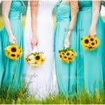 دسته گل زیبا و درخشان عروس با گل آفتابگردون