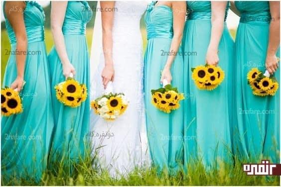 دسته گل آفتابگردان برای عروس و ساقدوش ها