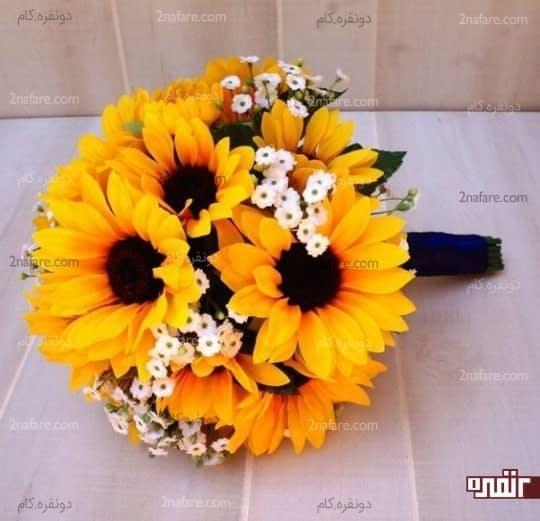 دسته گل زیبای عروس با آفتابگردان