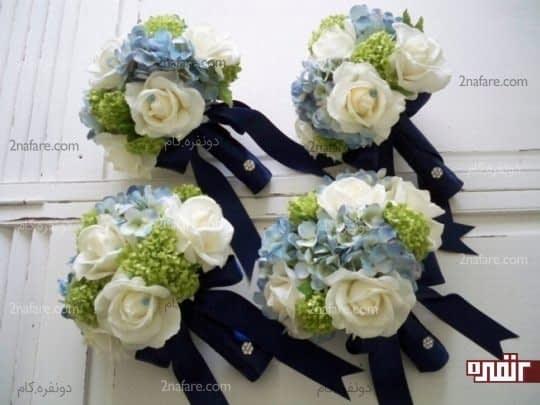 دسته گل شیک ترکیبی از هورتانسیا برای ساقدوش ها