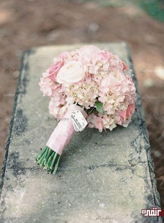 دسته گل عروس ملایم و شیک با هورتانسیا