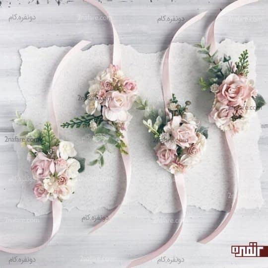 دسته گل مچی با رز صورتی برای ساقدوش ها