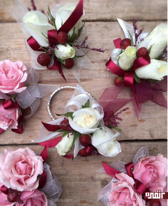 دسته گل مچی عروس و ساقدوش ها با گل رز