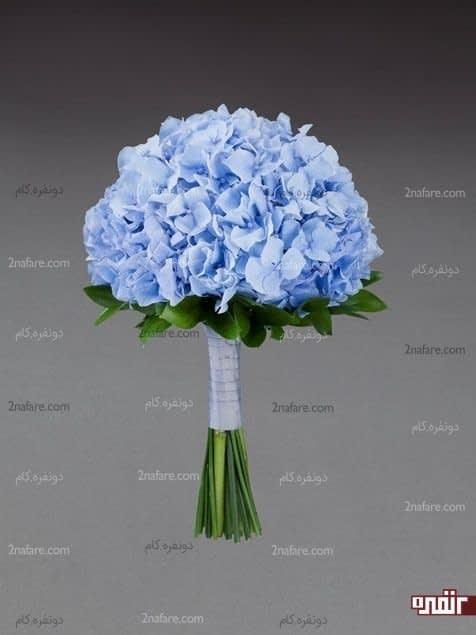 دسته گل هورتانسیای آبی برای عروس