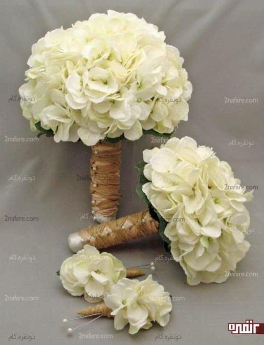دسته گل هورتانسیا سفید و کلاسیک