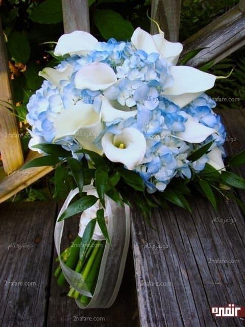 دسته گل هورتانسیا و شیپوری عروس