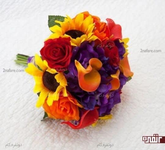 دست گل عروس با آفتابگردان