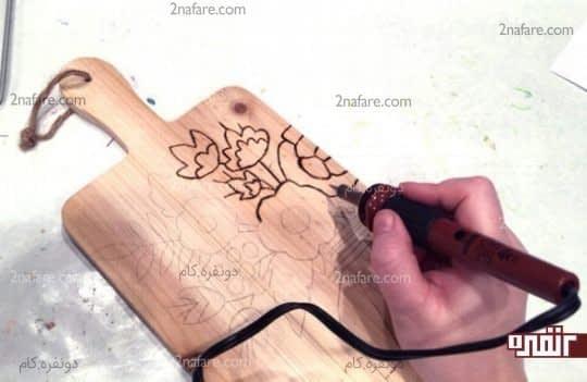 دورگیری طرح روی چوب با هویه