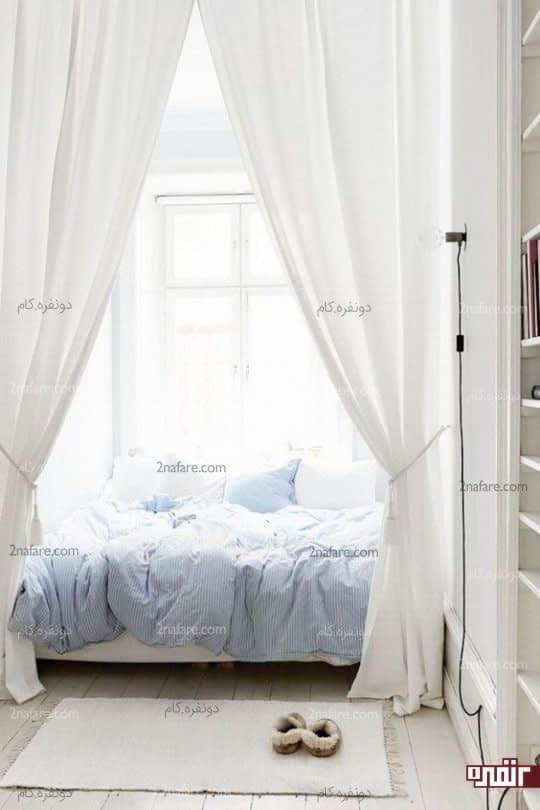 روتختی نرم و آبی رنگ برای اتاق خوابی آرامش بخش