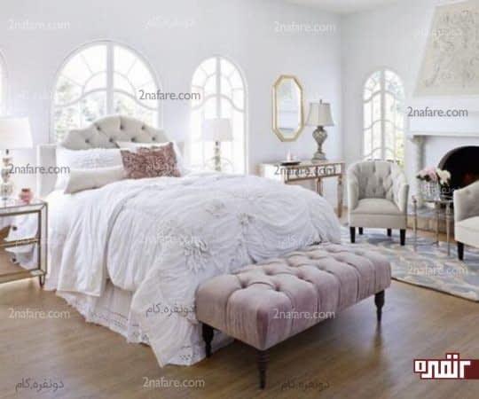 سفید و صورتی ملایم در اتاقی عاشقانه و زیبا