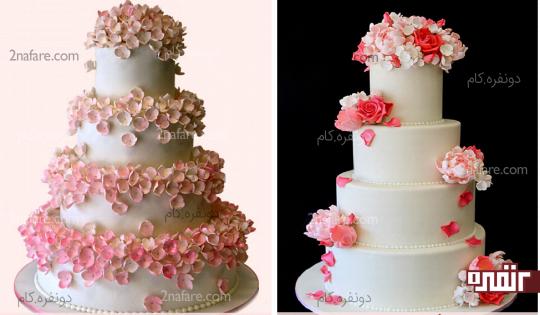طراحی کیک با سایه های زیبای صورتی
