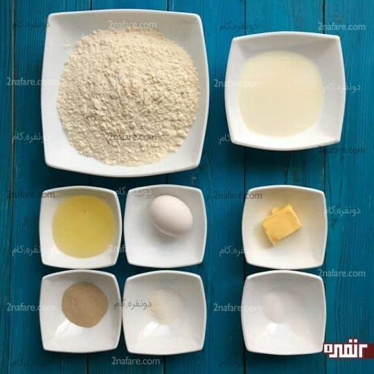 مواد لازم برای تهیه نان پنیری