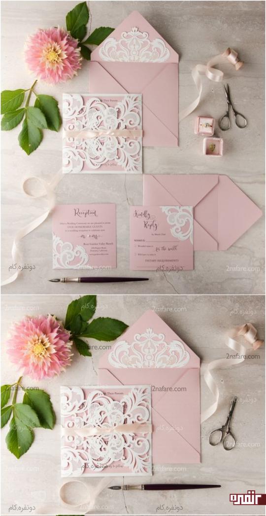 کارت رمانتیک و زیبای عروسی با رنگ صورتی