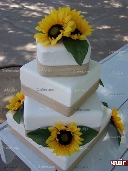 گل آفتابگردان برای تزیین کیک
