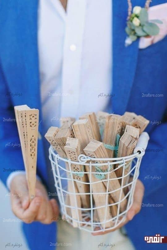 گیفت عروسی بادبزن چوبی