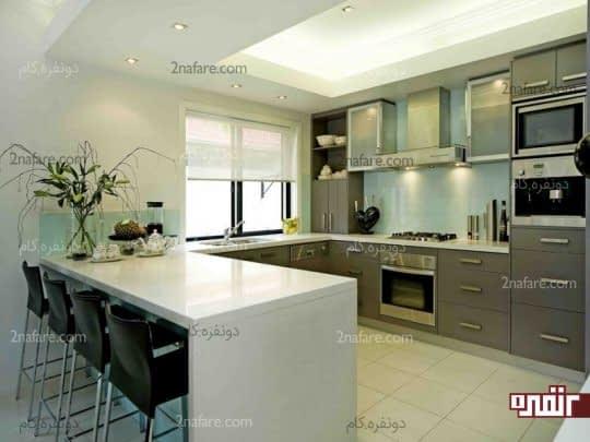 آشپزخانه ای مدرن و زیبا با طرح G شکل یا اپن دار