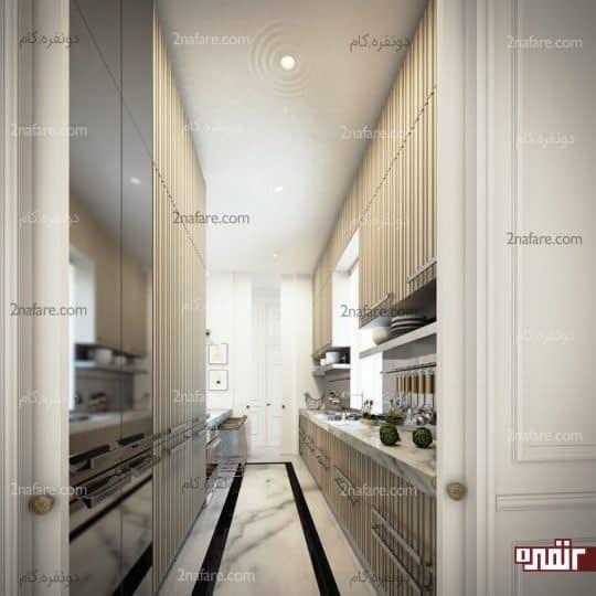 آشپزخانه های دو دیواره فضایی محصور و جدا از سایر بخش های خانه است
