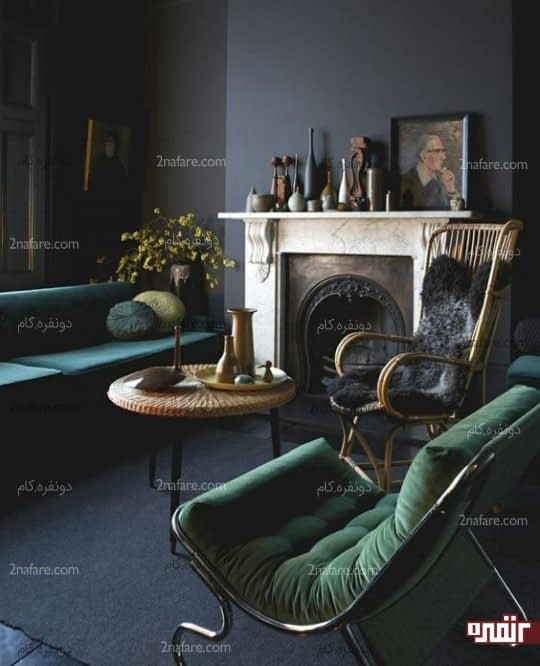 اتاقی شیک و مجلل با ترکیب سبز زمردی و خاکستری تیره