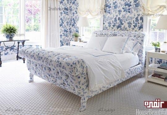 اتاق خوابی بهاری با ترکیب رنگ های آبی و سفید