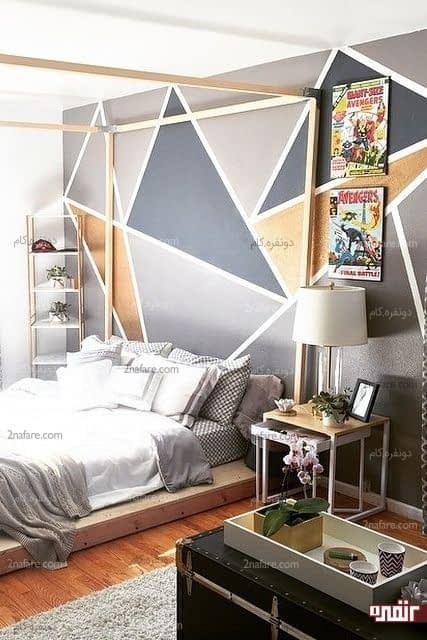 اتاق خواب مدرن و پسرانه با قرار دادن تخت روی زمین