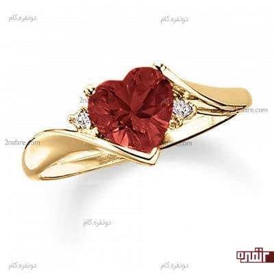 انگشتر طرح قلب با نگین قرمز
