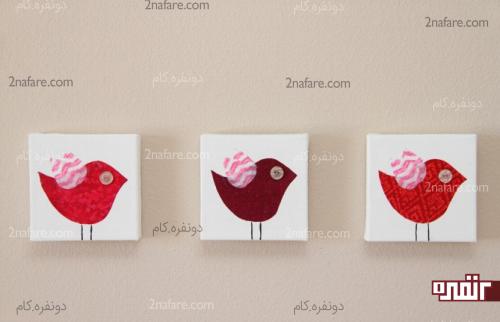 تابلوی کودکانه با طرح پرنده های پارچه ای