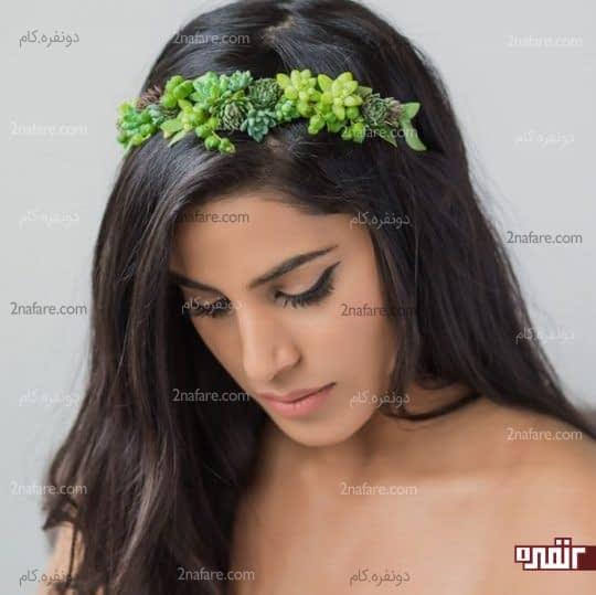 تاج عروس با گلهای ساکولنت