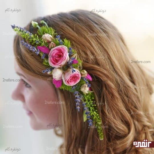 تاج عروس با گل رز