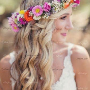 تاج گل عروس با گلهای طبیعی