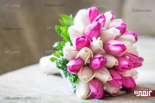 ترکیبی زیبا برای دسته گل عروس