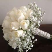 ترکیب رز و ژیپسوفیلا برای دسته گل سفید عروس