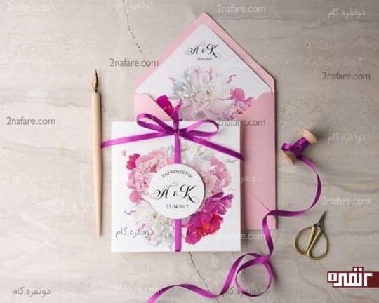 ترکیب رنگ زیبای کارت عروسی گلدار