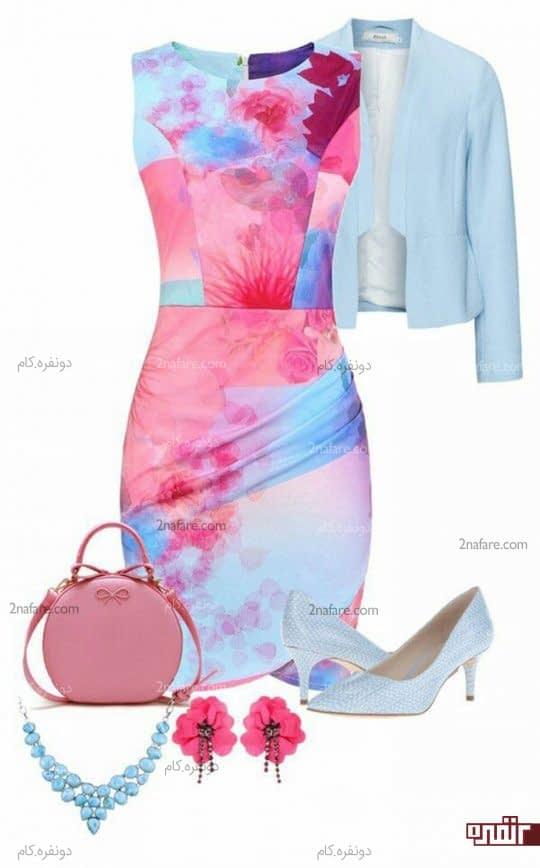 ترکیب رنگ صورتی و آبی در پارچه پیراهن