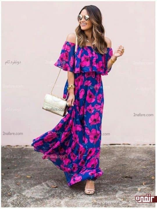 ترکیب صورتی و آبی در پارچه لباس