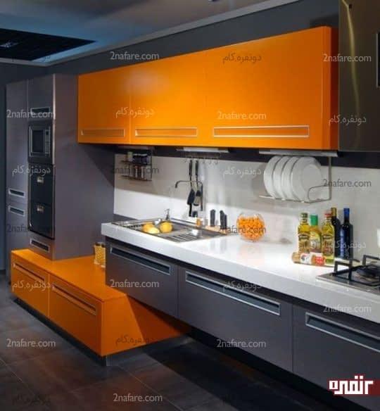 ترکیب نارنجی پرتقالی و خاکستری در آشپزخانه ای مینیمال